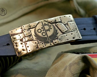 """Leather belt with brass buckle """"Brotherhood of Steel"""" ver. 2"""