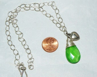 Green Chalcedony Briolette Wire Wrapped Sterling Silver Necklace
