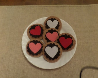 Felt Food, Valentine Cookie with Chocolate Frosting and Heart Embellishment