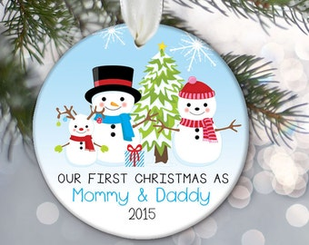 Our first Christmas as Mommy & Daddy Personalized Christmas Ornament New Parents Ornament Family Ornament Snowman Christmas Gift OR436