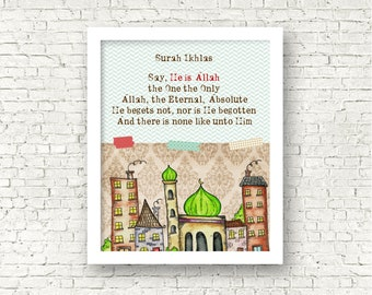 Surah Ikhlas Print, Islamic quote, Quran Reminder, perfect for baby boy's room. - Frame not included