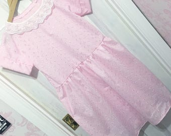 Kawaii Fairy Kei Floral Baby Pink Dress XS