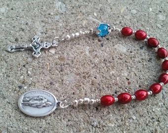 Red Beaded St Florian Single Decade Pocket Rosary