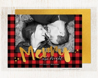 Buffalo Plaid Christmas Card with Photo, Lumberjack Holiday Card, DIY Printable, Printed Cards, Red Black Checkered, Woodsy, Greeting, Gold