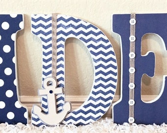 Nautical Nursery Letters, Nautical Room Decor, Wooden Letters, Personalized Baby Gift, Custom Name, Nautical Kids Wall Art