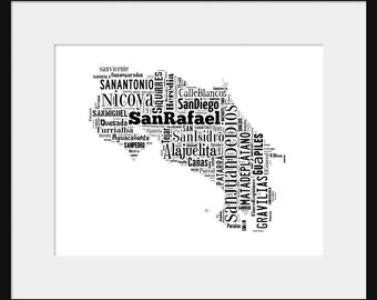 Costa Rica Map Typography Poster Print