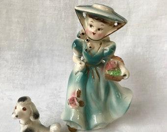 VINTAGE GIRL Figurine with POODLE