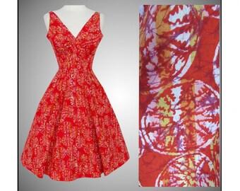 Vintage 1950s Dress//Vibrant Novelty Print//Susan Kay//Red//Full Dress//