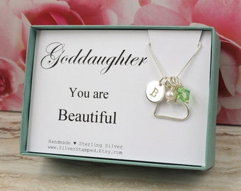 Goddaughter necklace etsy goddaughter gift necklace for goddaughter sterling silver birthstone initial communion necklace goddaughter jewelry easter negle Images