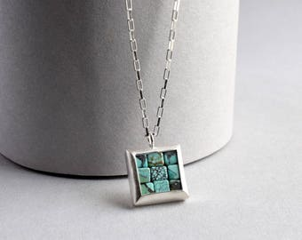 Turquoise Silver Necklace - Mosaic Necklace - Mosaic Pendant - Square Pendant - blue silver pendant - blue mosaic necklace - artisan made