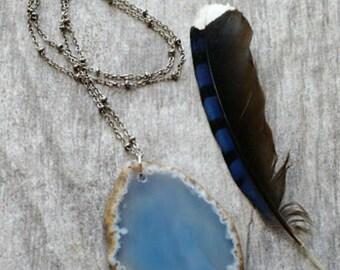 Gemstone slice necklace agate slice necklace simple jewelry minimal jewelry long layering necklace sky blue jewelry bohemian jewelry