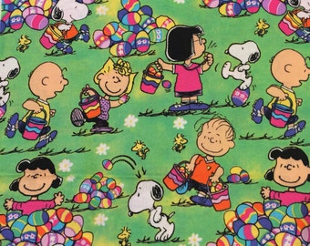 """Charlie Brown, Snoopy, Peanuts, Easter Fabric 25"""" L x 27"""" wide"""