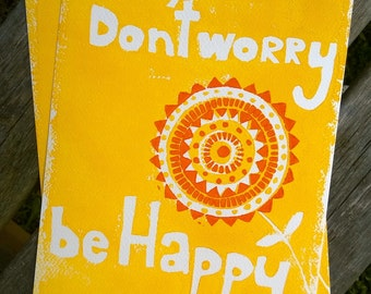 Don't Worry A4 Lino Print