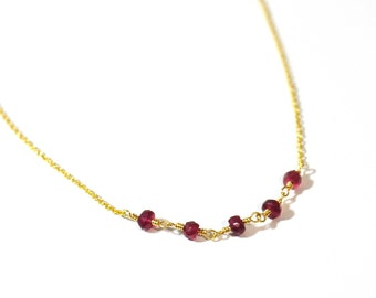 Red Ruby Necklace, Dainty Gold Necklace, Red Ruby Gold Necklace, July Birthstone, Red stone jewelry, July birthday Necklace, July Birthstone