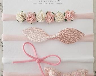 Pink Flower Bow Set