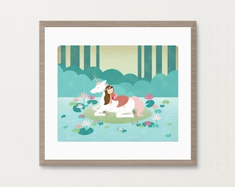 Sleeping Beauty Unicorn Lake -  8x10 Archival Art Print