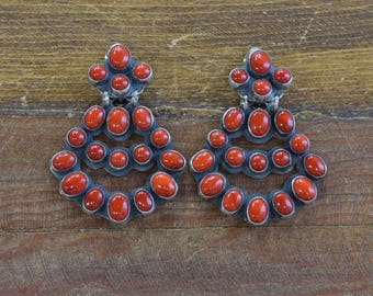 Vintage Navajo Coral Chandelier Sterling Silver Earrings
