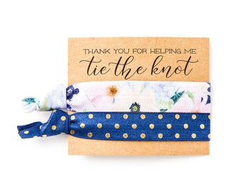 Navy Blue Floral Hair Tie Favors | Boho Bachelorette Hair Tie Favors, Bridesmaid Gift Hair Ties, Navy Blue Gold Floral Tribal Hair Tie Sets