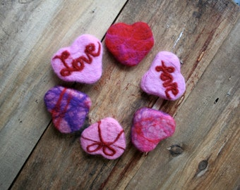 Felted Soap Set of Six Candy Heart All Natural Glycerin Soap