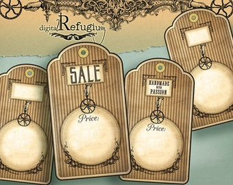 Tags,Steampunk, Digital Collage Sheet, INSTANT DOWNLOAD Price Tags, printable vintage
