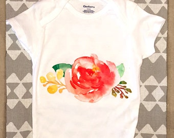 6-9 month floral onesie with matching head wrap
