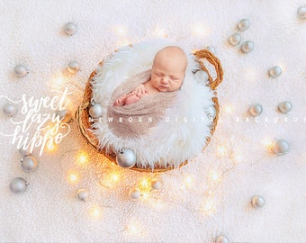Christmas newborn digital backdrop with basket, white fur, festive lights and silver matt Christmas balls. Instant download. JPG file.