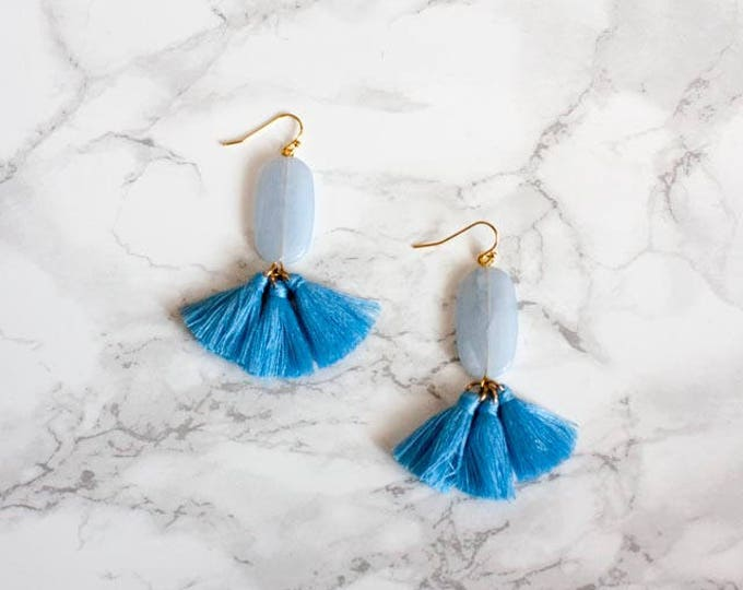 Light Blue Mini Tassel Drops