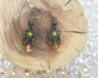 Vintage Sparkly Yellow Rhinestone Brass Floral Dangly Earrings
