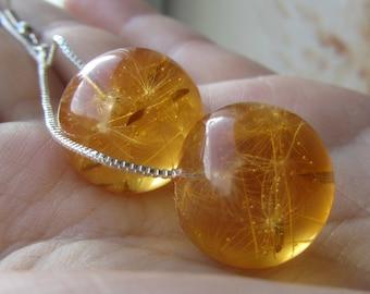 amber earrings, amber ball earrings, amber jewelry, flower earrings, resin earrings, dandelion earrings, real flower earrings, crystal resin