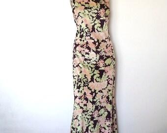 1970s Panne Velvet Maxi Dress - 30s style vintage floral print halter evening gown