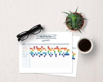 Habit tracker | bujo template, bullet journal, fitness plan, habit planner, monthly tracker, health tracker, study tracker, month planner