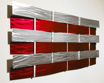 "Modern Abstract Metal Wall Art Sculpture Painting - Red ""Wall Weave"" by Dustin Miller"