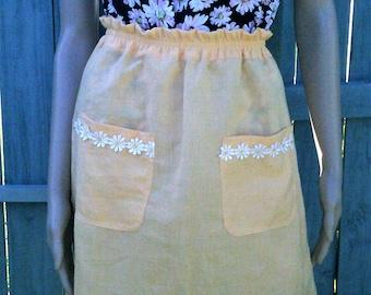 Handmade linen blend yellow skirt