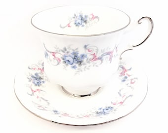 Paragon Romance Tea Cup and Saucer, Blue Flowers, Pink & Blue Scrolls, Bridal Shower, Wedding, Anniversary