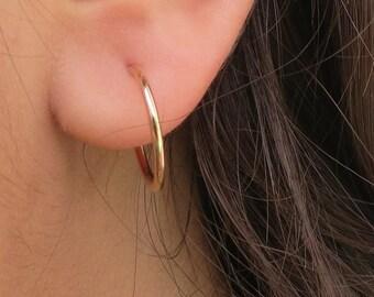 Hoop Earrings Sexy Minimalist Gift for Women Rose Gold Earrings Gold Hoops Best Friend Gift Sterling Silver Handmade Jewelry Cute Gift