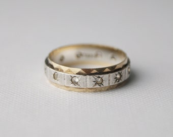 Vintage Sterling Silver and 9 ct gold Eternity Ring Wedding Band - Vintage Wedding Ring - Vintage Eternity Ring -  size K 1/2 or 5 1/2