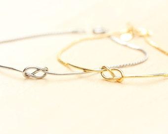 Love Knot Bracelet, Knot Bracelet, Silver Knot Bracelet, Silver Chain Bracelet