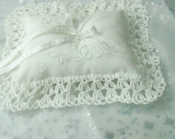 Ring Bearers Pillow, Ring Pillow, Wedding Pillow, Hand Crochet, Hand Embroidered, White, Ready to ship