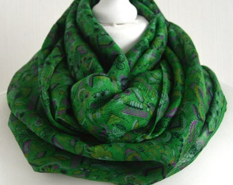 Emerald Infinity Scarf - Silk Infinity Scarf - Boho Scarf - Nursing Cover - Gift for Her - Sari Silk Scarf - Lightweight Scarf - CMCNCA0499
