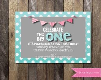 Printable Birthday Invitations For Boy ~ Printable first birthday invitation boy one year old party