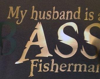 My Husband is a Bass Fisherman - Tshirt - Women's - Olive