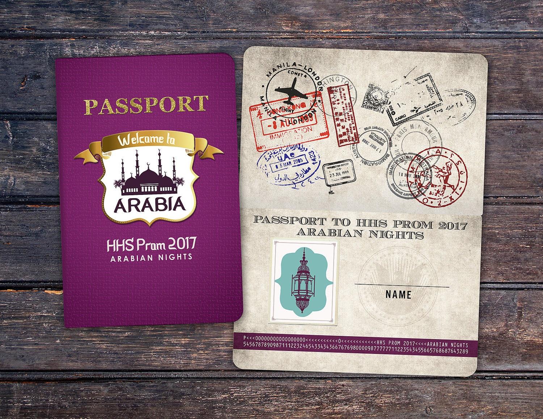 Prom, PASSPORT and TICKET birthday invitation! Morocco, Arabia ...