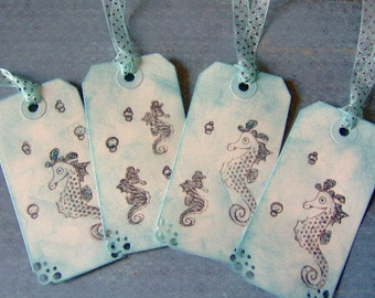 Vintage Seahorse Themed Gift Tags - Set of 8 Medium Tags