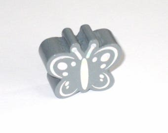 8 shiny gray standard Butterfly wood beads that