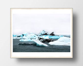 Iceberg glaciers Iceland print, water photo, wall decor, digital download, wall art