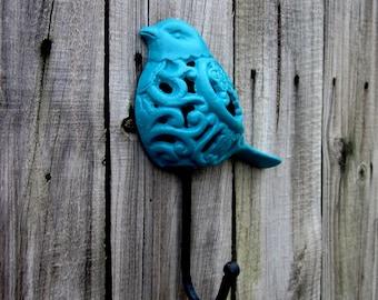 Bird Hook, Cast Iron, Decorative Hook, Dark Turquoise, Wall Decor, Kitchen Hook, Key Hook, Entryway, Coat Hook, Filigree Bird Hook