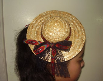 FASCINATOR STRAW HAT - Accented With Ribbon Around The Hat and a Little Bow on The Back, Straw Hat Headpiece, Mini Hat, Edwardian, Rustic