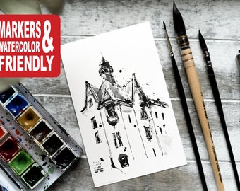 """Set of 20 Watercolor Coloring Cards, coloring pages, coloring book, gift - """"Riga, Latvia"""" by Rudy Murdock"""