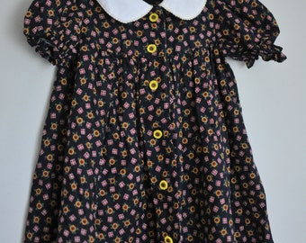 Vintage handmade sunflower girls dress size 3/4