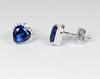 Blue Sapphire Sterling Silver Earrings / Sapphire Earrings Studs
